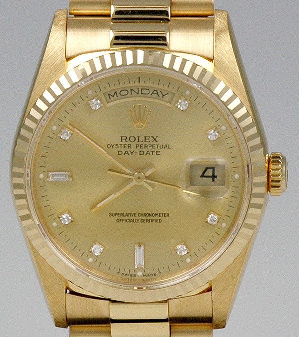 Ladies Rolex Watches Uk >> Rolex Oyster Perpetual Day-Date 18ct Yellow Gold - Champagne Diamond-Set Dial (1993)