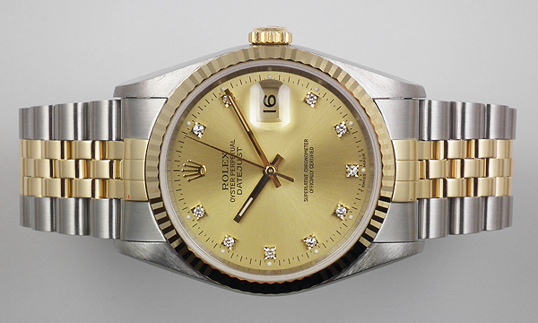 Rolex Oyster Perpetual Datejust 18k Ss Champagne Diamond