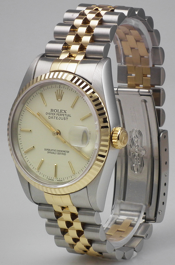 Rolex Oyster Perpetual Datejust 18k Ss Ivory Dial 1993