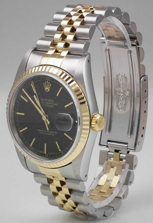 Rolex Oyster Perpetual Datejust 18k Ss White Roman Dial