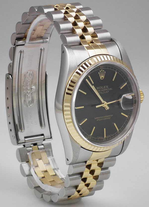 Rolex Oyster Perpetual Datejust 18k Ss Black Dial 1988
