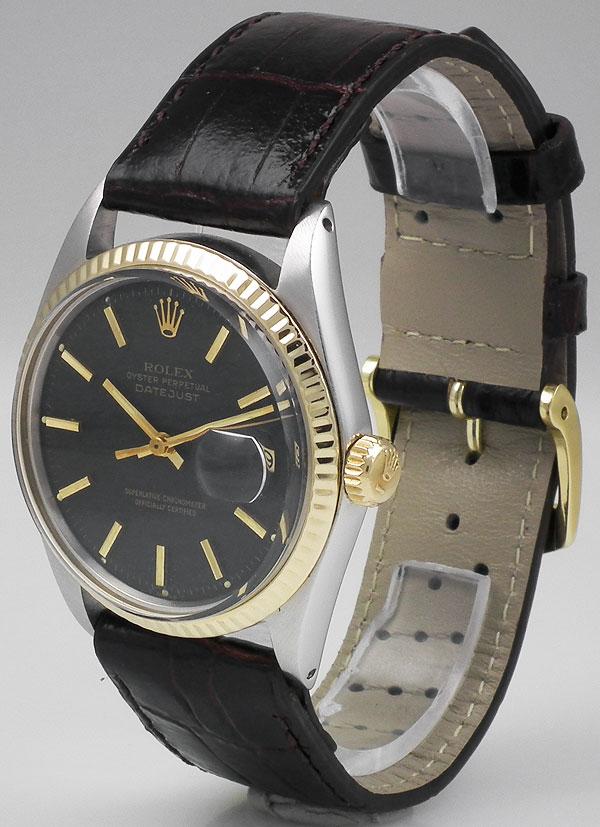 Rolex Oyster Perpetual Datejust 18k Ss Original Black