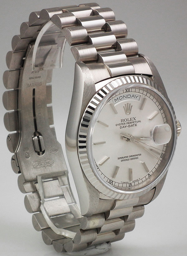 Ladies Rolex Watches Uk >> Rolex Oyster Perpetual Day-Date 18ct White Gold - Silver ...