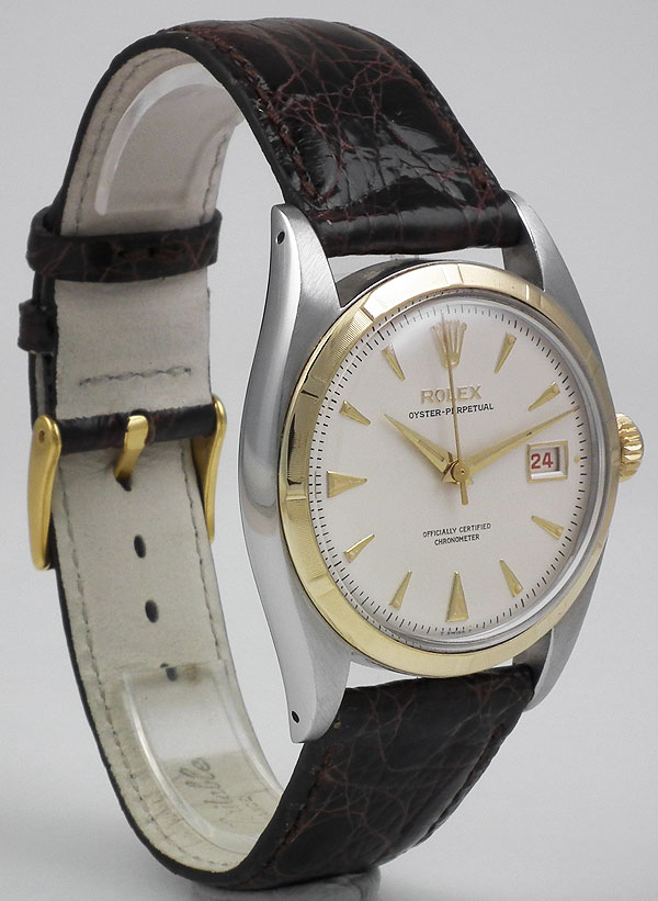 Rolex Oyster Perpetual Datejust In 18k Ss White Dial 1953