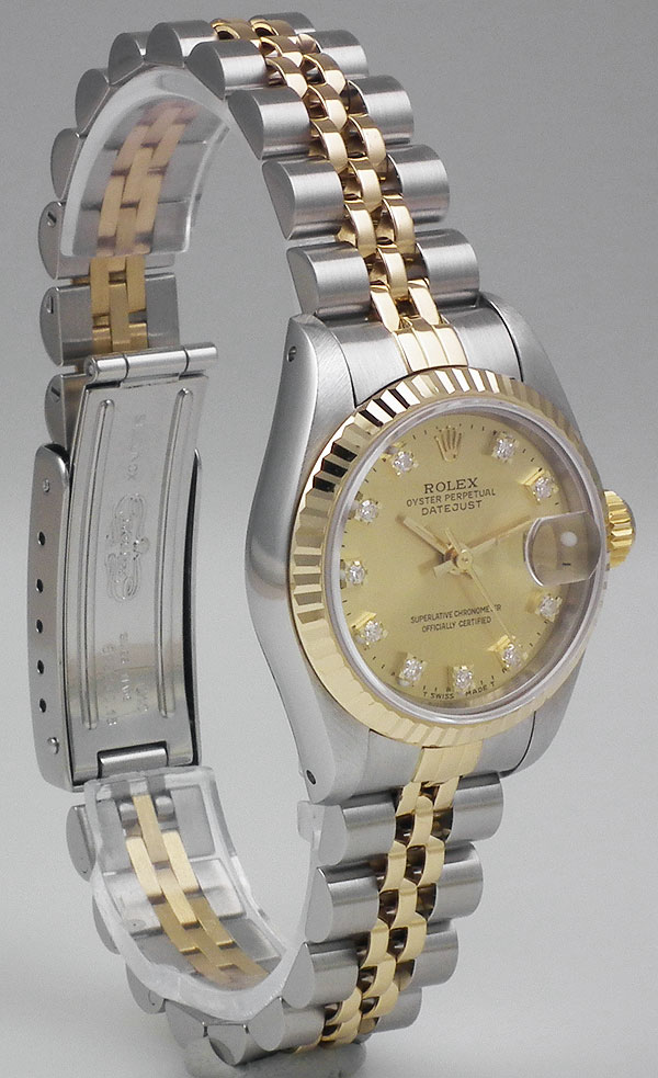 ladies rolex oyster perpetual datejust 18kss champagne