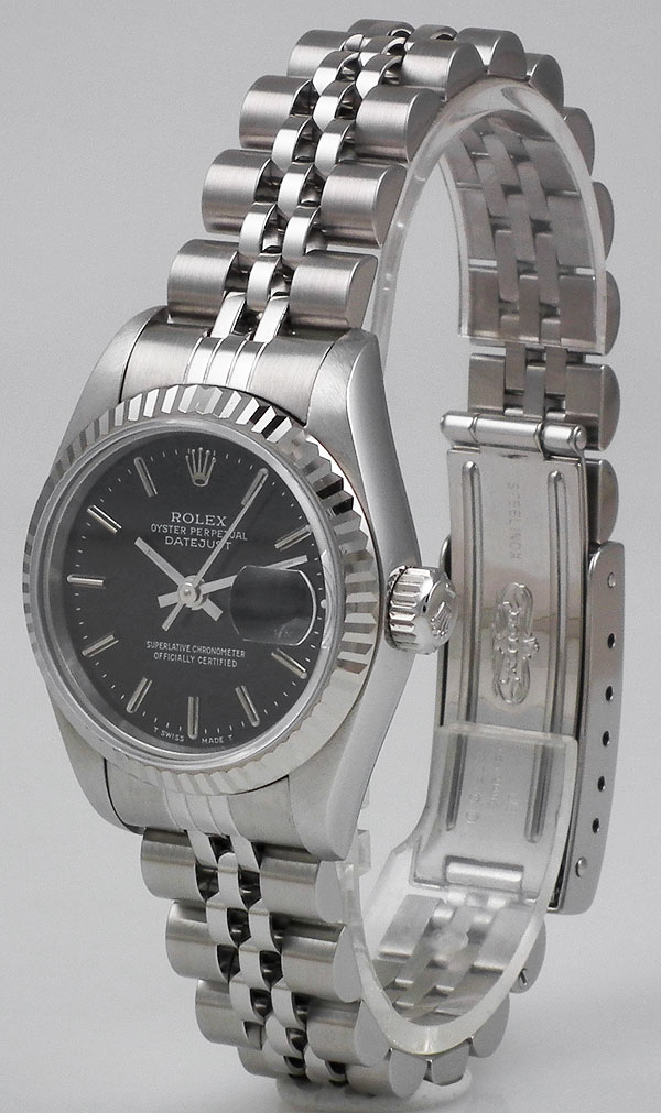Ladies Rolex Oyster Perpetual Datejust 18k Wg Ss Black