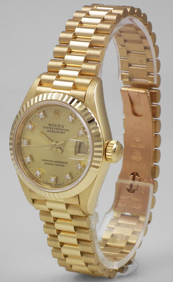 Ladies Rolex Oyster Perpetual Datejust 18ct Champagne