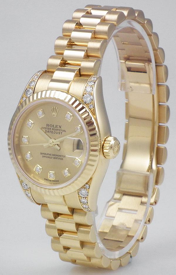 17909dacb58 Ladies Rolex Oyster Perpetual DateJust 18K 18ct Diamond Dial Shoulders  179238