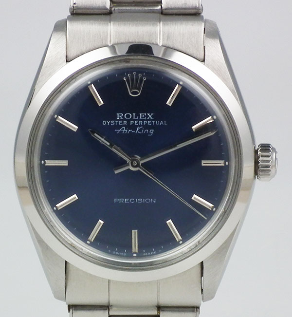 Rolex Oyster Perpetual Air King Metallic Blue Dial Riveted