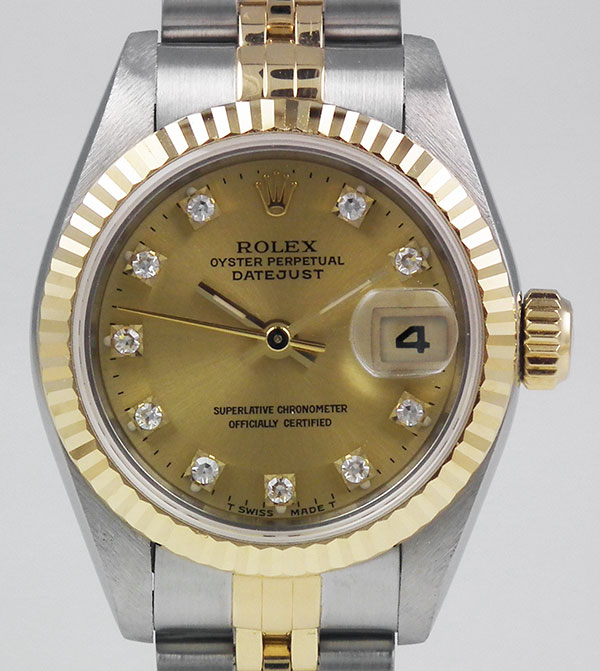 45872dbca3a Ladies Rolex Oyster Perpetual DateJust 18K/SS 69173 - Champagne ...