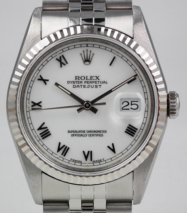 Ladies Rolex Watches Uk >> Rolex Oyster Perpetual DateJust 16234 - White Roman Numeral Dial (1999)