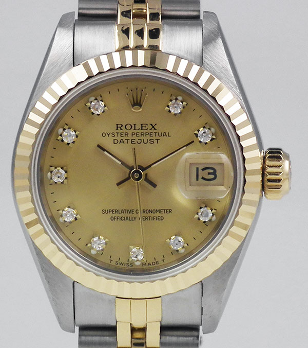 Ladies Rolex Oyster Perpetual Datejust 18k Ss 69173 Champagne