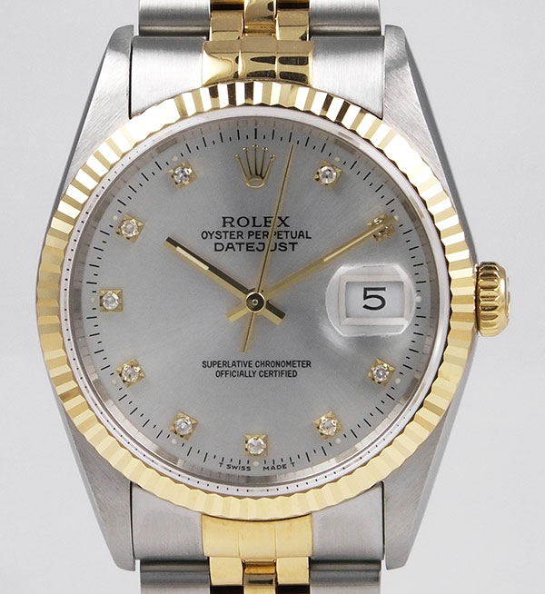 Details about Rolex Oyster Perpetual DateJust 18K/SS , Original Silver  Diamond,Set Dial (1990)